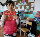 Petrina with a present