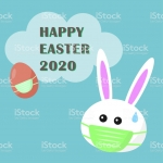 Happy Easter 2020 with Covid-19 or corona virus with bunny rabbit wears medical face mask for outbreak cancellation concept