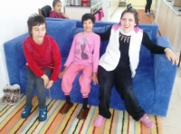 Children with slippers